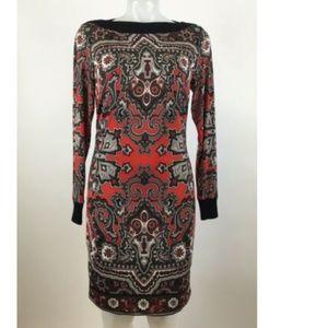 Cache Women's Medium Red Gray Paisley Print Sz M